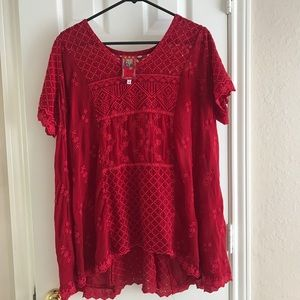 Johnny Was Red Blouse size Medium